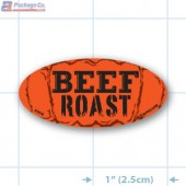 Beef Roast  Fluorescent Red Oval Merchandising Label Copyright A1PKG.com - 21519