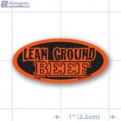 Lean Ground Beef Fluorescent Red Oval Merchandising Label - Copyright - A1PKG.com - 21520
