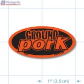 Ground Pork Fluorescent Red Oval Merchandising Label Copyright A1PKG.com - 21603