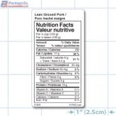 Lean Ground Pork Nutrition Facts Label - Copyright - A1Pkg.com - SKU 21609