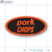 Pork Chop Fluorescent Red Oval Merchandising Label Copyright A1PKG.com - 21611