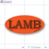 Lamb Fluorescent Red Oval Merchandising Labels - Copyright - A1PKG.com SKU -  21701