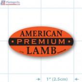 American Lamb Fluorescent Red Oval Merchandising Labels - Copyright - A1PKG.com SKU -  21703