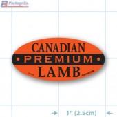 Premium Canadian Lamb Fluorescent Red Oval Merchandising Labels - Copyright - A1PKG.com SKU -  21704