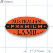 Premium Australian Lamb Fluorescent Red Oval Merchandising Label Copyright A1PKG.com - 21705