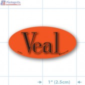 Veal Fluorescent Red Oval Merchandising Label Copyright A1PKG.com - 21801