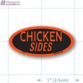 Chicken Sides Fluorescent Red Oval Merchandising Label Copyright A1PKG.com - 22012
