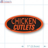 Chicken Cutlets Fluorescent Red Oval Merchandising Label Copyright A1PKG.com - 22104