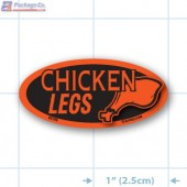 Chicken Legs Fluorescent Red Oval Merchandising Label Copyright A1PKG.com - 22105