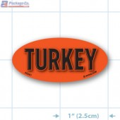 Turkey Fluorescent Red Oval Merchandising Label Copyright A1PKG.com - 22201