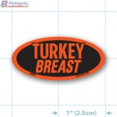 Turkey Breast Fluorescent Red Oval Merchandising Label Copyright A1PKG.com - 22203