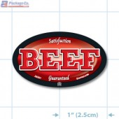Beef Full Color Oval Merchandising Labels - Copyright - A1PKG.com SKU - 26501