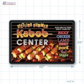 Sizzling Summer Kabob Center Large Floor Merchandising Decal A1Pkg.com SKU 28024