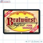 Bratwurst Pork Sausage Full Color Rectangle Merchandising Labels - Copyright - A1PKG.com SKU -  28101
