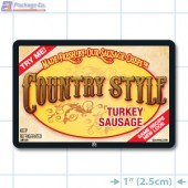 Country Style Turkey Sausage Full Color Rectangle Merchandising Labels - Copyright - A1PKG.com SKU -  28105