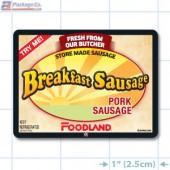Breakfast Pork Sausage Full Color Rectangle Merchandising Labels - Copyright - A1PKG.com SKU -  28157-FDL