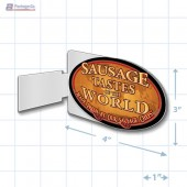 Sausage Tastes of the World Oval Aisle Talker Merchandising Decal A1Pkg.com SKU 28160