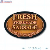 Fresh Store Made Sausahe Oval Merchandising Labels - Copyright - A1PKG.com SKU # 26161