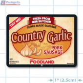 Country Garlic Pork Sausage Full Color Rectangle Merchandising Labels - Copyright - A1PKG.com SKU -  28184-FDL