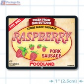 Foodland Raspberry Pork Sausage Full Color Rectangle Merchandising Labels - Copyright - A1PKG.com SKU -  28199