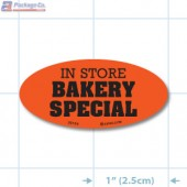 In Store Bakery Special Fluorescent Red Oval Merchandising Labels - Copyright - A1PKG.com SKU - 30104