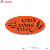 Whole Wheat Honey Special Fluorescent Red Oval Merchandising Labels - Copyright - A1PKG.com SKU - 30302