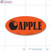 Apple Fluorescent Red Oval Merchandising Labels - Copyright - A1PKG.com SKU - 33002