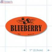 Blueberry Fluorescent Red Oval Merchandising Labels - Copyright - A1PKG.com SKU - 33003