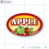 Apple Full Color Oval Merchandising Labels - Copyright - A1PKG.com SKU -  33101