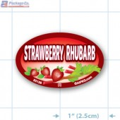 Strawberry Rhubarb Full Color Oval Merchandising Labels - Copyright - A1PKG.com SKU -  33136