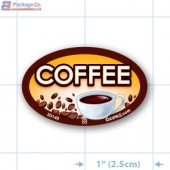 Coffee Full Color Oval Merchandising Labels - Copyright - A1PKG.com SKU -  33140