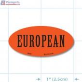 European Fluorescent Red Oval Merchandising Labels - Copyright - A1PKG.com SKU - 34001