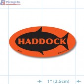 Haddock Fluorescent Red Oval Merchandising Label Copyright A1PKG.com - 50102