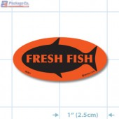 Fresh Fish Fluorescent Red Oval Merchandising Labels - Copyright - A1PKG.com SKU - 50301