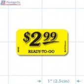 $2.99 Ready to Go Bright Yellow Merchandising Price Label Copyright A1PKG.com - 66430