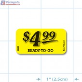 $4.99 Ready to Go Bright Yellow Merchandising Price Label Copyright A1PKG.com - 66450