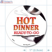 Hot Dinner Ready to Go Full Color Circle Merchandising Labels - Copyright - A1PKG.com SKU -  66501