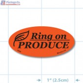 Ring ON Produce Fluorescent Red Oval Merchandising Labels - Copyright - A1PKG.com SKU - 70000