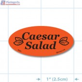 Caesar Salad Fluorescent Red Oval Merchandising Labels - Copyright - A1PKG.com SKU - 70301