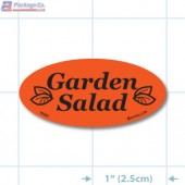 Garden Salad Fluorescent Red Oval Merchandising Labels - Copyright - A1PKG.com SKU - 70302