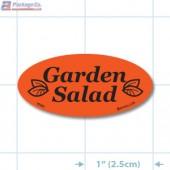 Garden Salad Fluorescent Red Oval Merchandising Labels - Copyright - A1PKG.com SKU - 70302