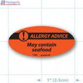 May Contain Seafood- Allergy Advice Fluorescent Red Oval Merchandising Label Copyright A1PKG.com - 81005