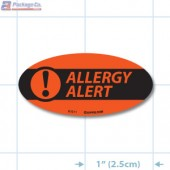 Allergy Alert Fluorescent Red Oval Merchandising Labels - Copyright - A1PKG.com SKU - 81011