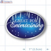 Great For Entertaining Oval Merchandising Labels - Copyright - A1PKG.com SKU # 90327