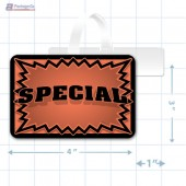 Orange Special 3D Starburst Merchandising Rectangle Shelf Dangler - Copyright - A1PKG.com - 16018