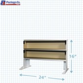 Silver Anodized Long Label Dispensing Table Top Shelf Ultimate Label Center- 24 inch